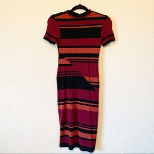 Abercrombie Retro Fitted Stripe Midi Dress